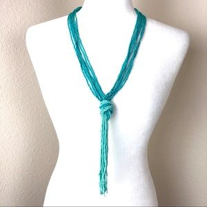 Teal beaded knot necklace
